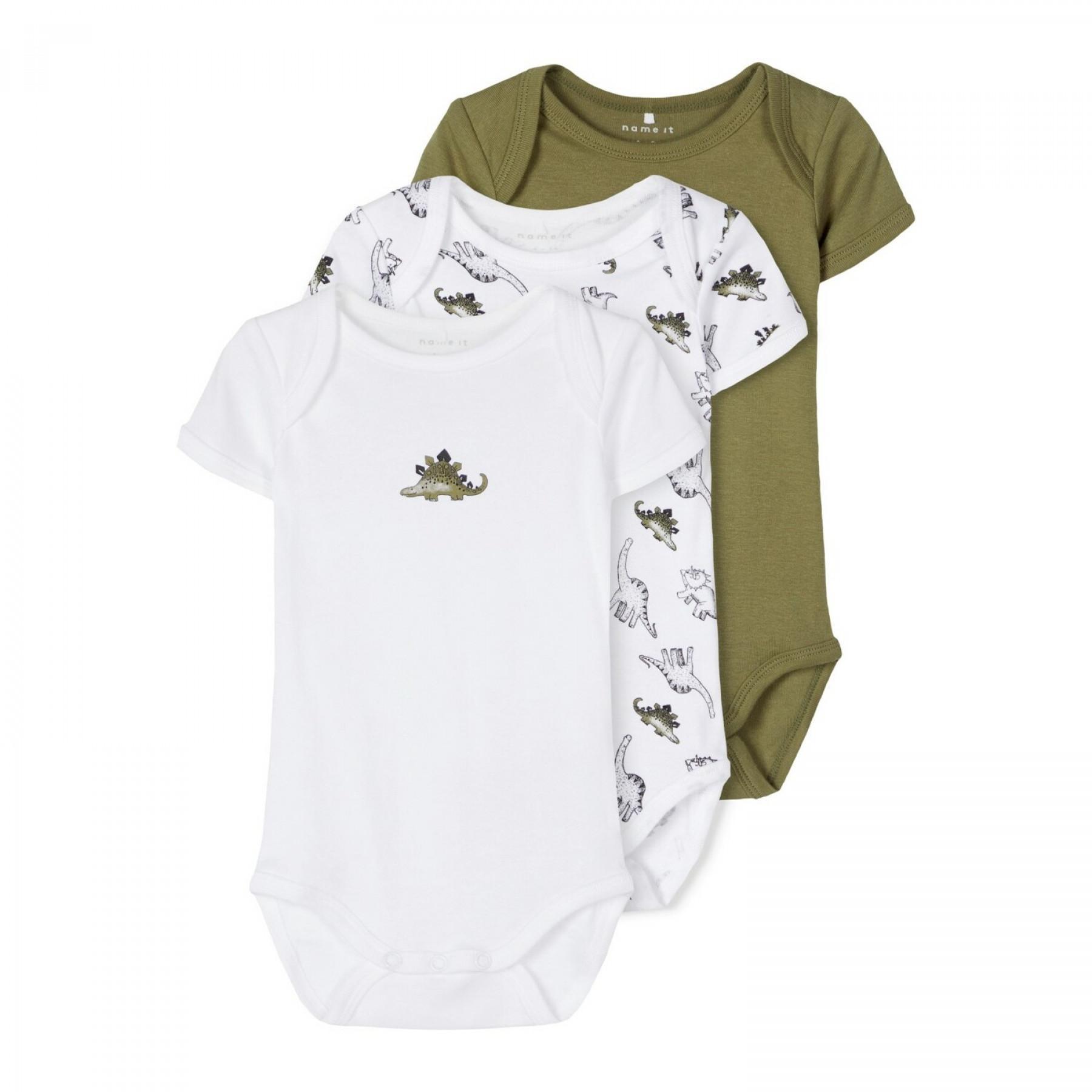 Set of 3 baby bodysuits Name it Dino