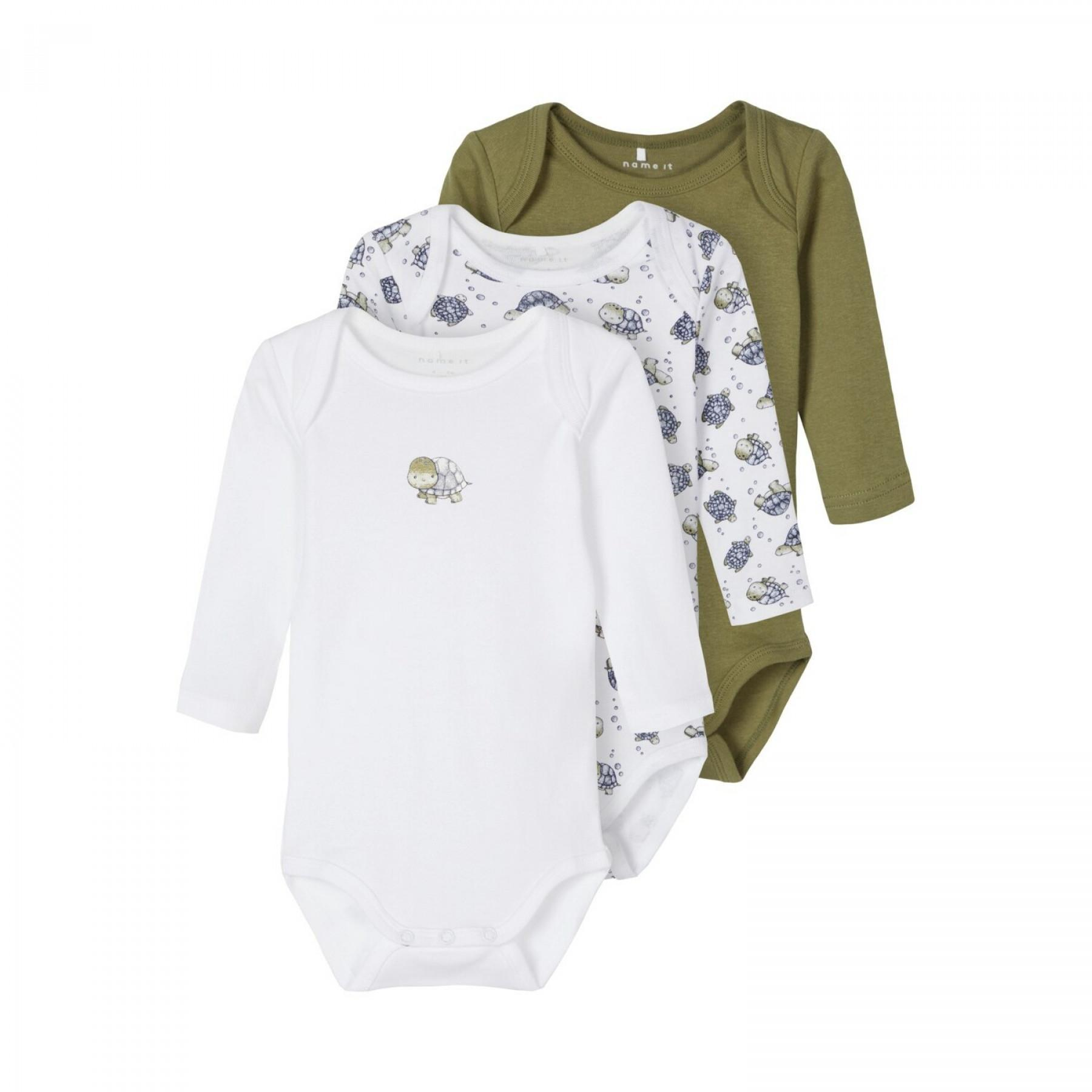 Set of 3 long sleeve baby bodysuits Name it Tortue