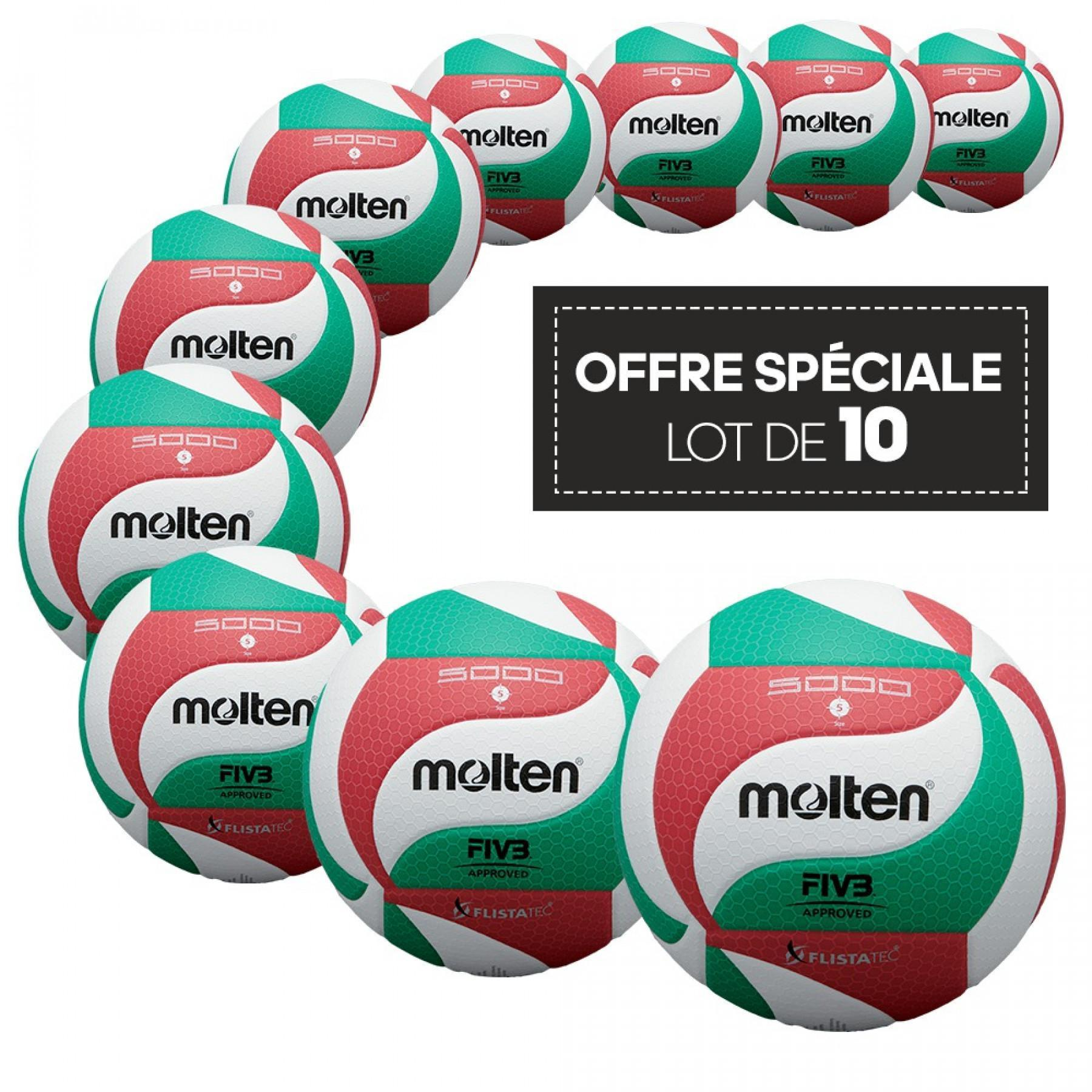 Pack of 10 competition balls Molten V5M5000
