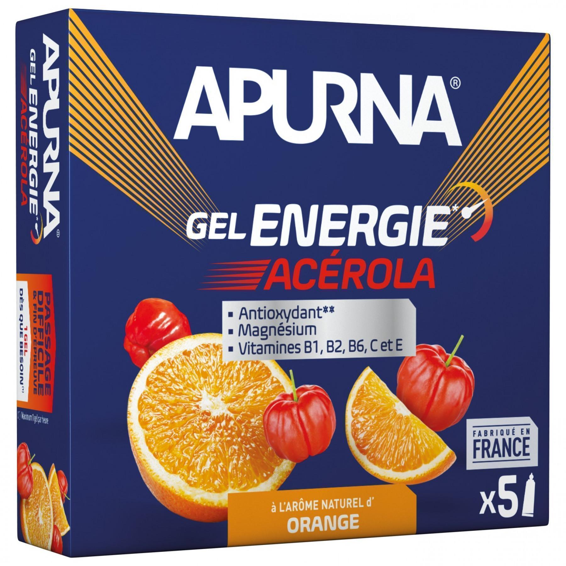 Pack of 5 gels Apurna Energie Acérola Orange - 35g
