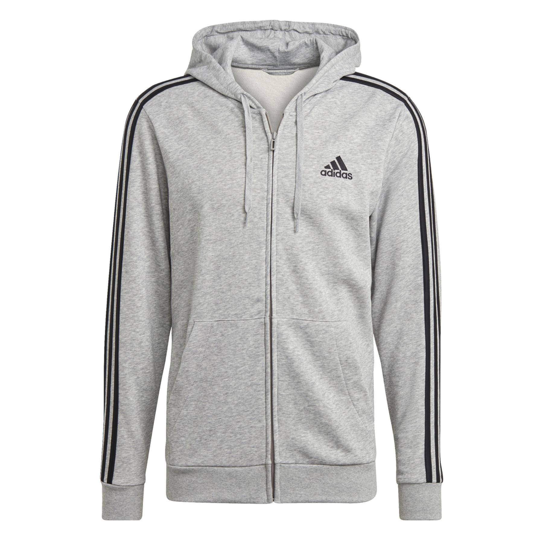 adidas Essentials French Terry 3-Stripes Full-Zip Hoody