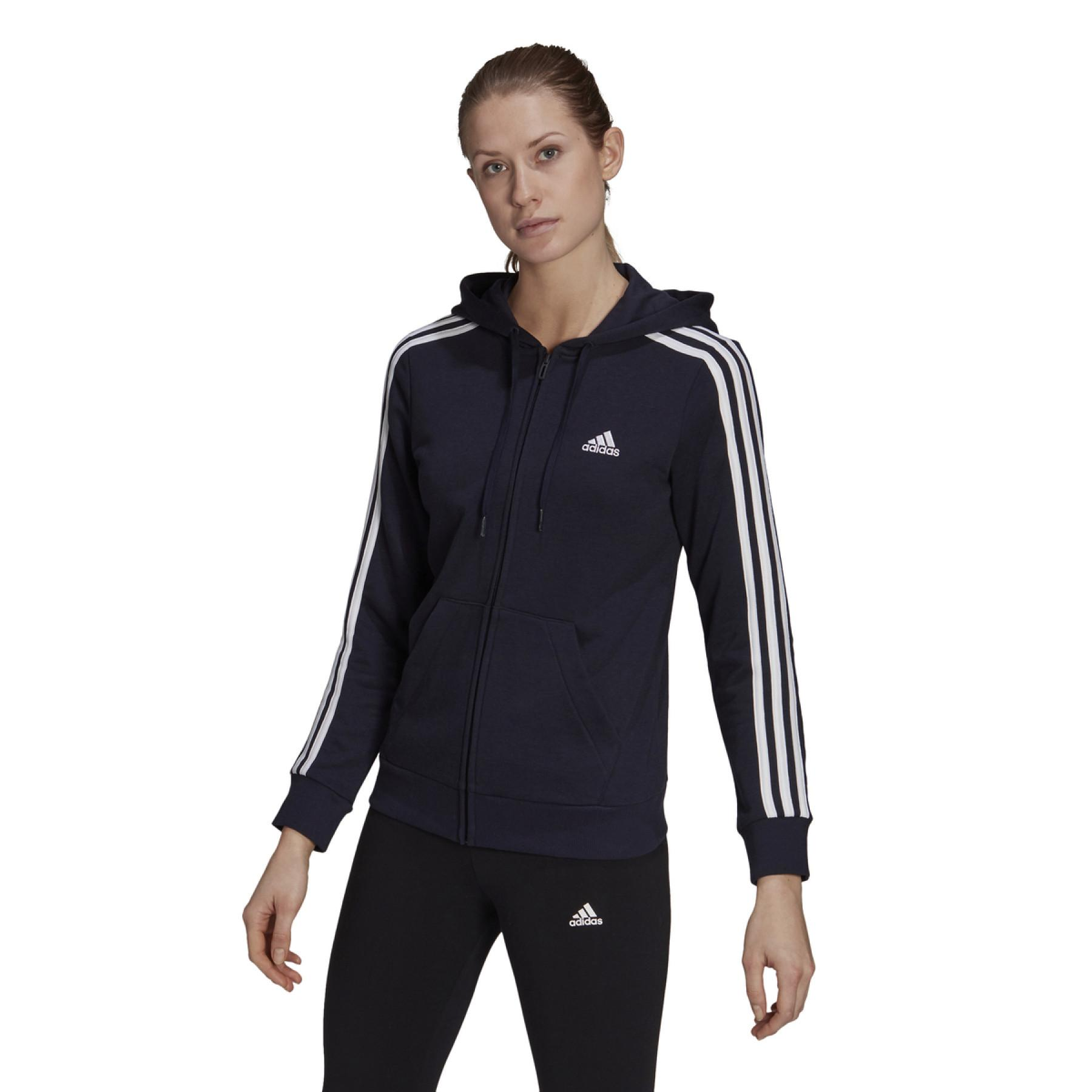 Women's zip-up hoodie adidas Essentials French Terry 3-Bandes