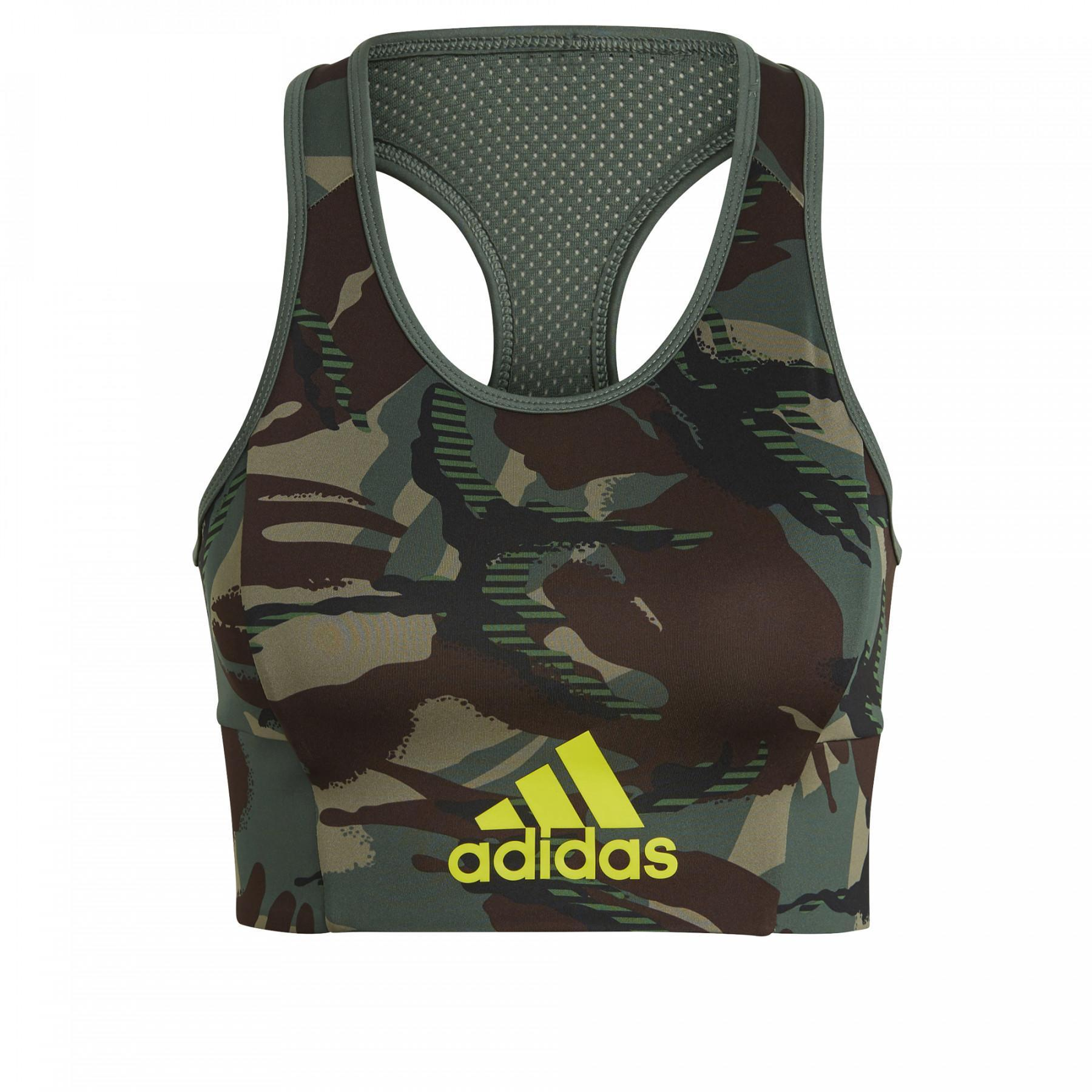 adidas Aeroready Designed 2 Move Camouflage-Printed Women's Bra