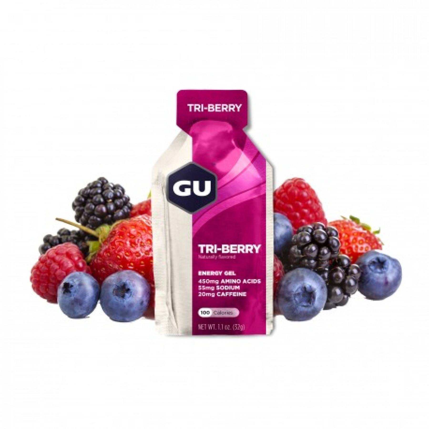 Batch of 24 gels Gu Energy 3 fruits rouges
