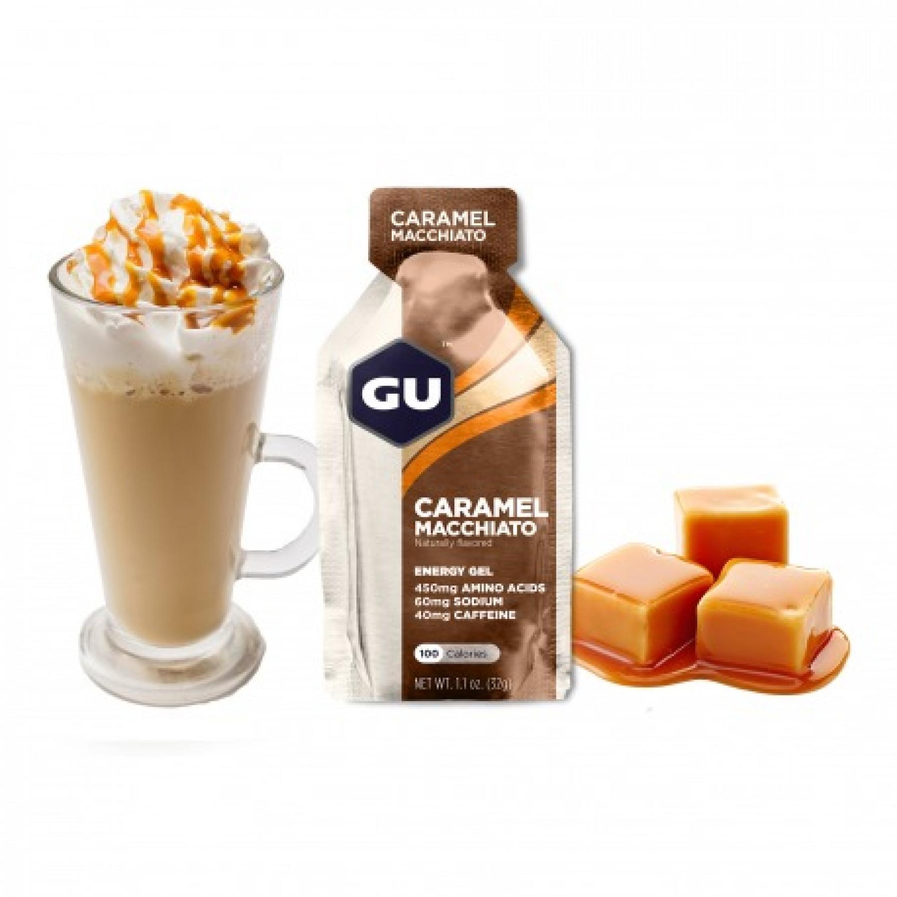 Batch of 24 gels Gu Energy caramel macchiato caféiné