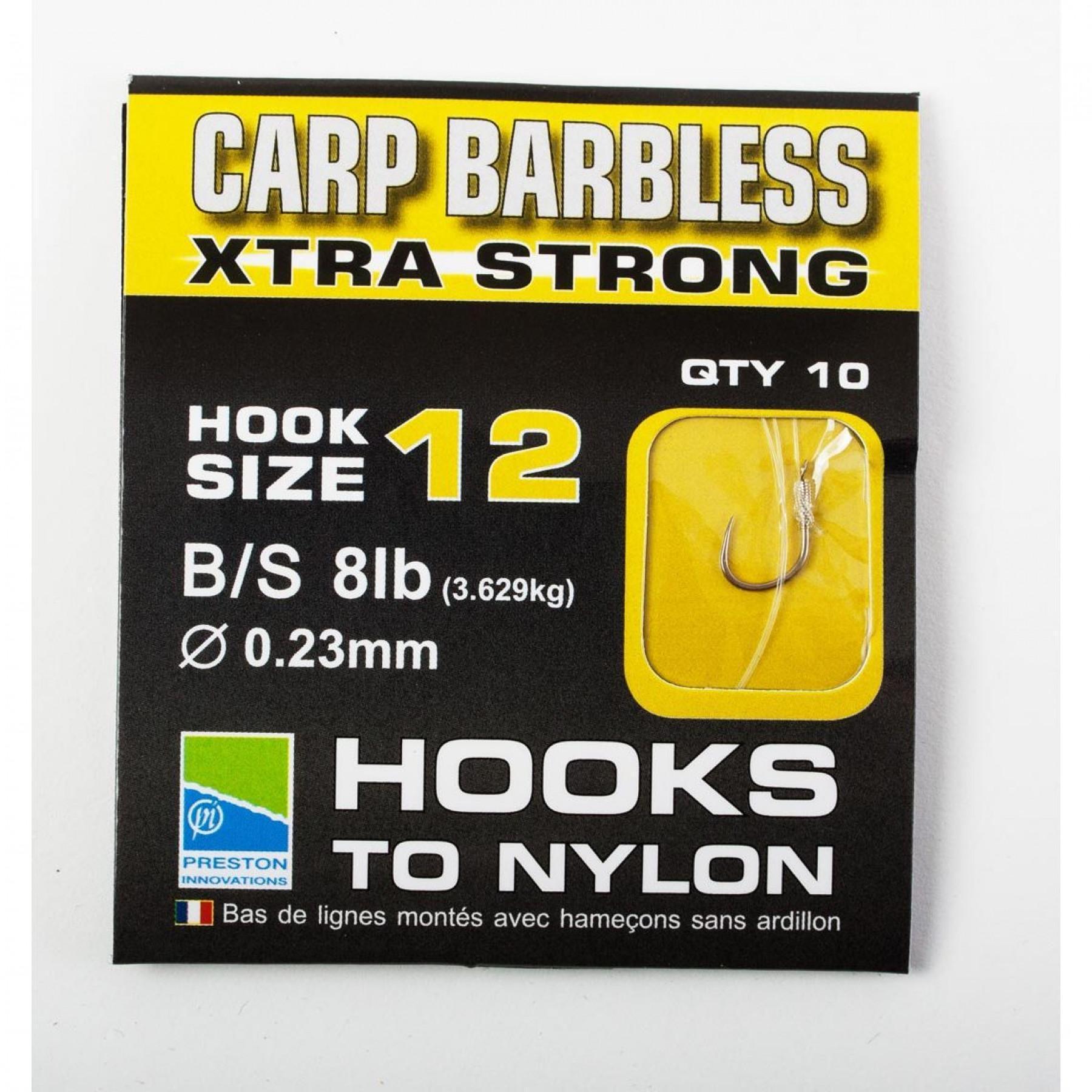 Preston Carp Xtra Strong Hooks To Nylon Size 12