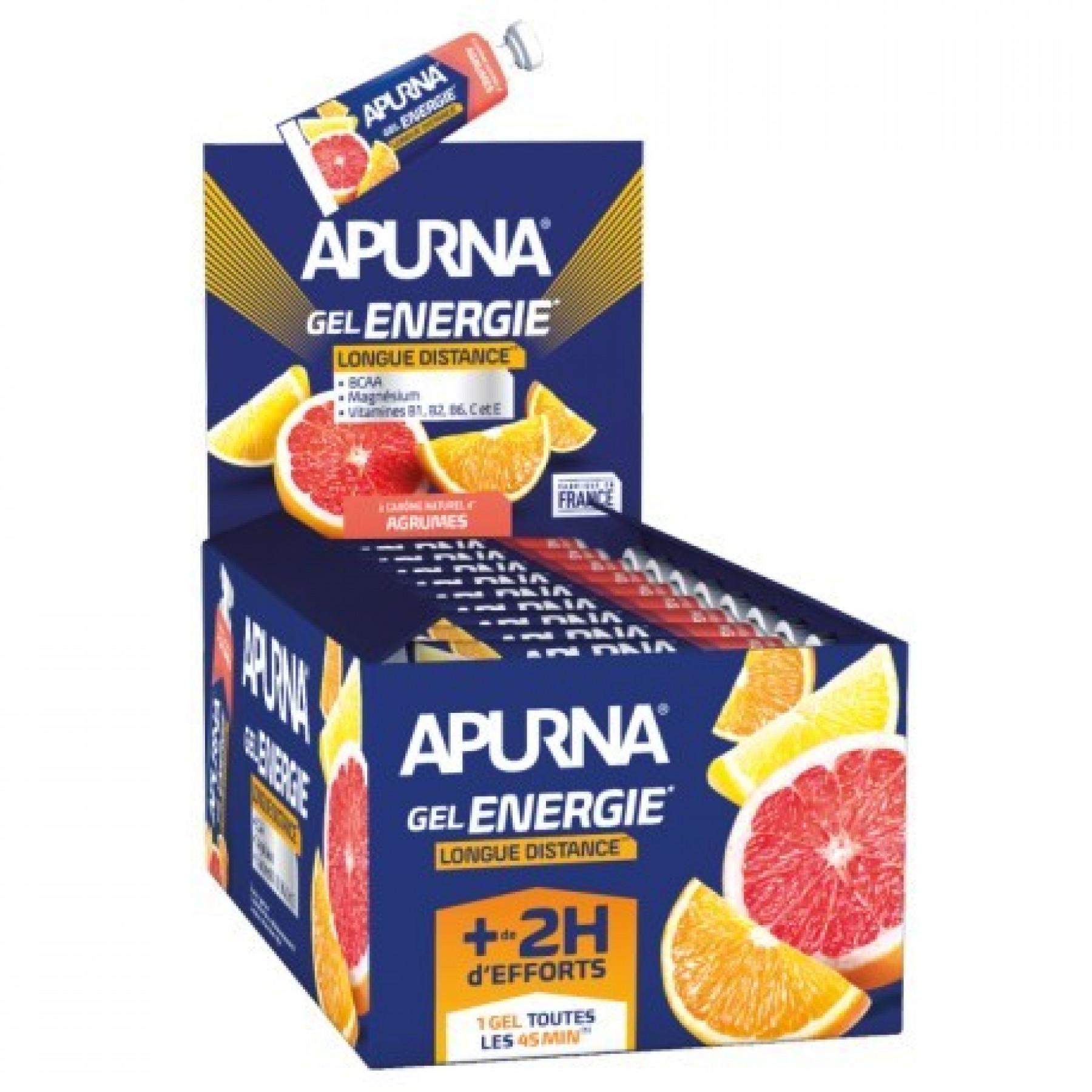 Batch of 25 gels Apurna Energie longue distance agrumes - 35g