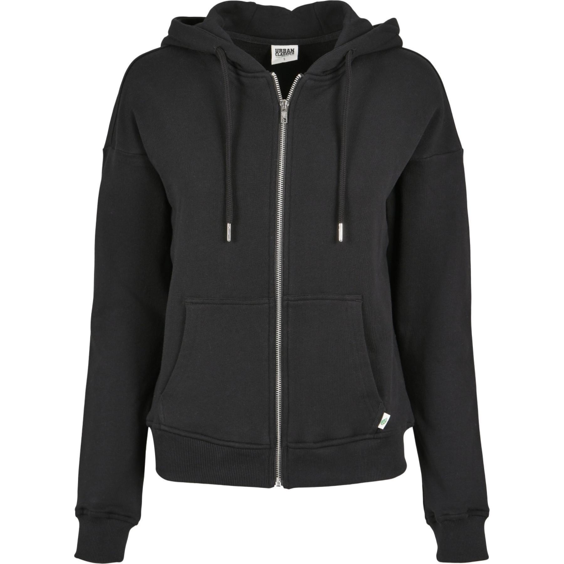 Urban Classics women's organic terry zip sweatshirt-large sizes