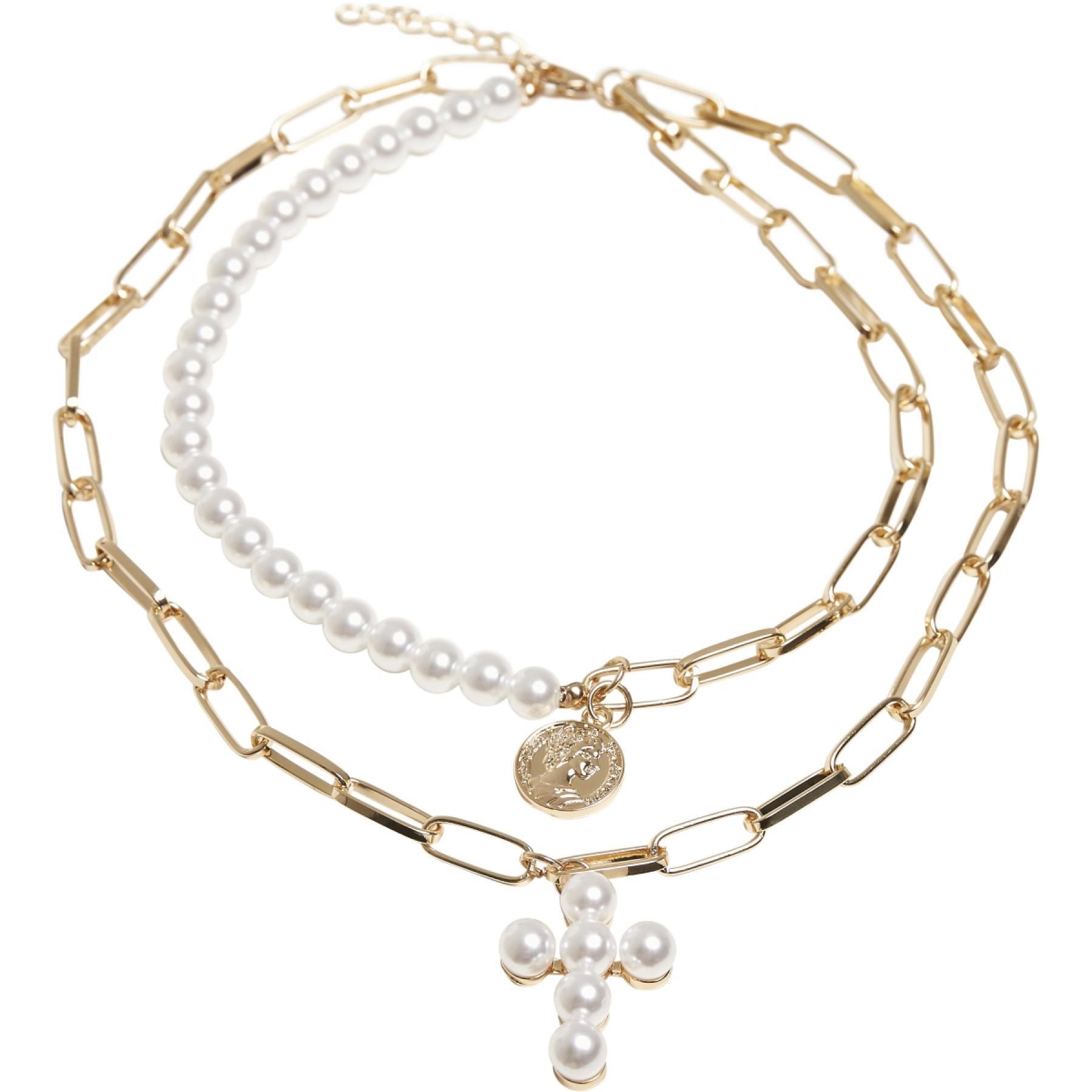 Necklace Urban Classics pearl cross layering