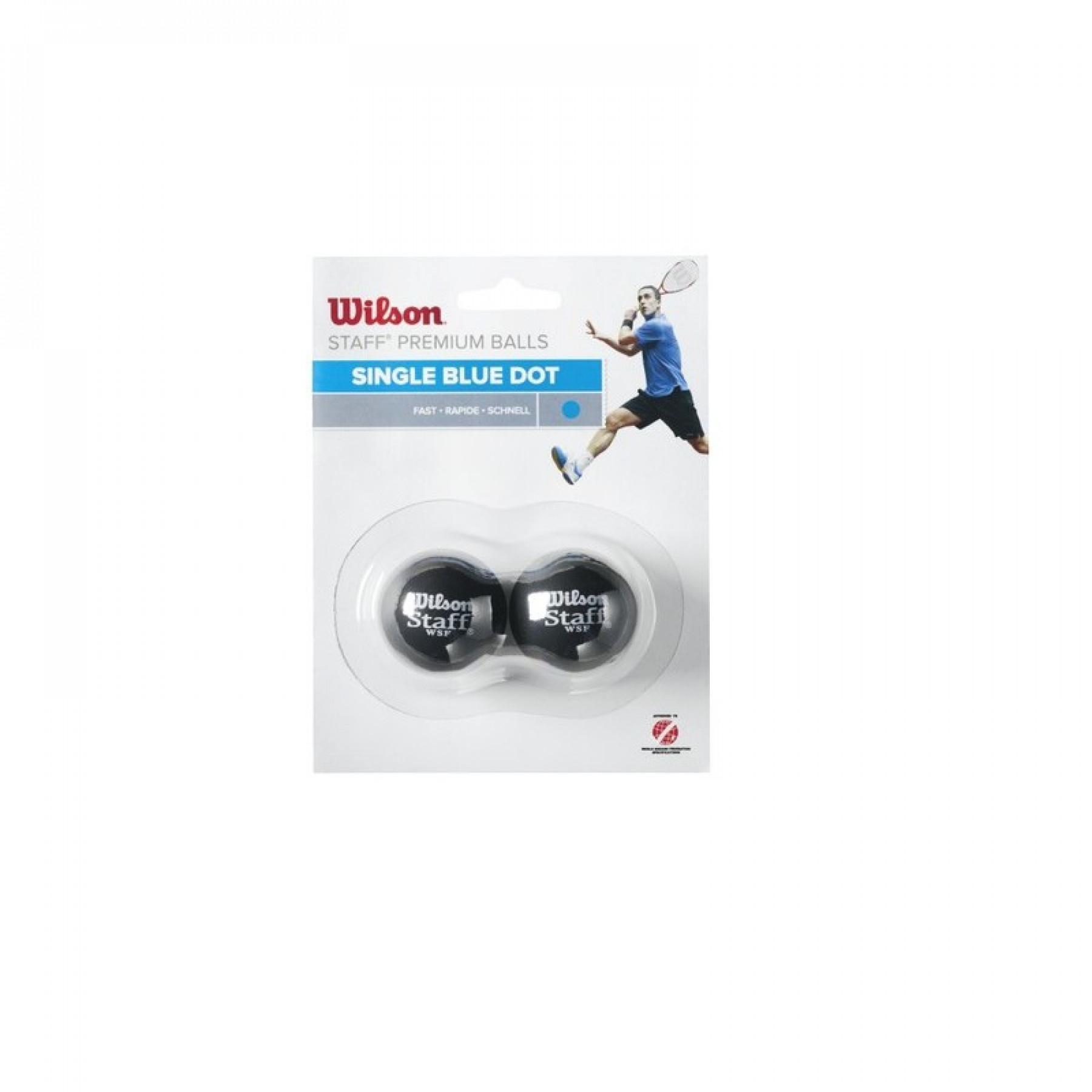 Set of 2 balls Wilson Staff squash blue point