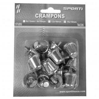 Conical rugby cleats blister pack of 16 aluminium cleats/18 mm Sporti France