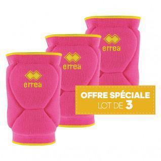 Set of 3 pairs of knee pads Errea Ayuara rose fluo/jaune