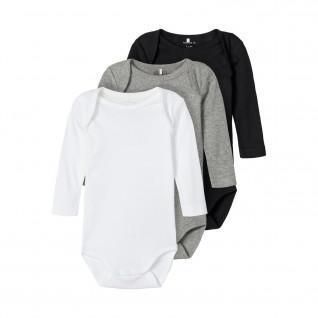 Set of 3 baby long sleeve bodysuits Name it
