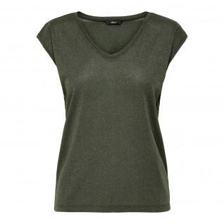 Women's Only Silvery short-sleeved T-shirt V-neck lurex