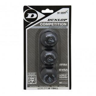 Set of 3 squash balls Dunlop competition blister