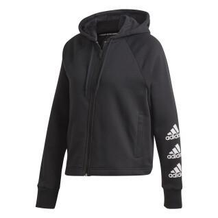 Women's hoodie adidas Stacked Logo Full-Zip Fleece