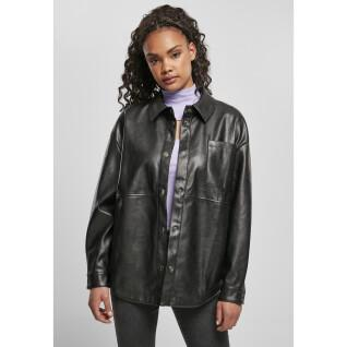 Woman's shirt Urban Classics faux leather over